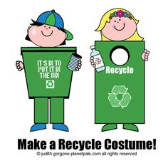 DIY-Think inside the bin to make a recycle costume for halloween!  From Planetpals.com