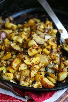 Cauliflower Potato Hash Browns © Jeanette's Healthy Living #Paleo #GlutenFree #HealthyRecipe #Cauliflower #Breakfast #Brunch