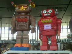 Robots on parade & protecting our stall at the Milton Keynes Vintage Fair, Middleton Hall