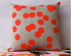 Cushion Double Sided Neon Red and Candy Pink - Hand screen printed on hemp.  Maybe instead stamp with fabric paint?