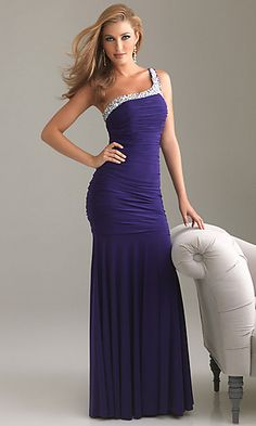 Ruched One Shoulder Floor Length Gown