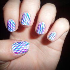 plaid nail, nailart, stripe nail, hair beauty, nail arts, beauti, nail ideas, criss cross, art nails