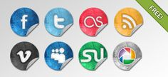 Grunge Social Network Icons | FREE PSD FILES
