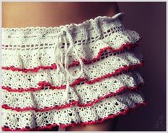 White Skirt with Red Edge free crochet graph pattern