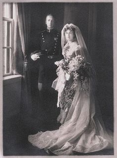 """Wedding photo of General George Patton and Beatrice Ayer. Throughout his miliatry career, George wrote the most beautiful love letters to Beatrice - """"I love you so, Bea ... I am not so hellish young and it is not spring, yet still I love you just as much as if we were 22 again on the baseball grandstand at West Point the night I graduated."""""""