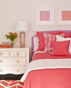 pink and coral - great colors for girl room that's not just PINK!