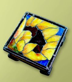 A Sunflower Mosaic on a Square Stained Glass Box by BeeTreeGlass, $130.00