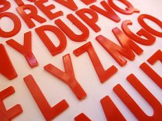 33 Vintage Plastic Red Letters for Collage or Craft