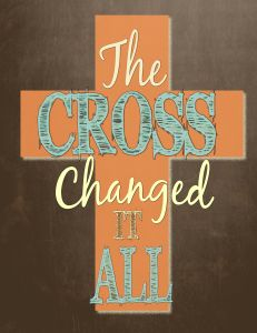 Just in time for Easter! Download your FREE printable that will remind you... the cross changed it all! Great framed in your home or as a gift for someone else. #Easter #freeprintable #faithdecor