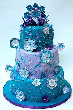Cake: decadent blue flowers, cake design, flower cakes, purple flowers, colorful cakes, blue cakes, wedding cakes, blue weddings, purple cakes