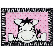 Pink I Luv Zebra Baby Nursery Rug Floor Covering by Baby Boom 30 X 40