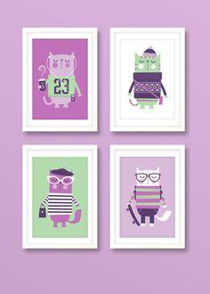 Nursery art girl girls print set hipster cats by BubbleGumYears, £27.99