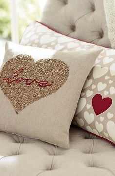 love gold and red cushion