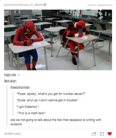 Deadpool and Spider-man take a test