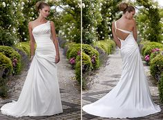 Beautiful one shoulder wedding dress with very low back wedding dressses, traditional weddings, greek wedding, goddesses, dream wedding dresses, greek goddess, dress up, one shoulder, destination weddings