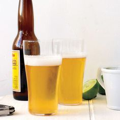 LIME SHANDY RECIPE - 1/4 cup fresh lime juice...4 teaspoons sugar...4 light-bodied beers, such as pilsner...Lime wedges, for garnish - WHISK together lime juice and sugar until sugar dissolves. Divide into 4 glasses and top with beer. Garnish with lime. Serve immediately.
