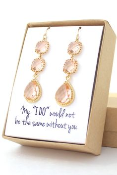 Long Peach Champagne Bridesmaid Earrings