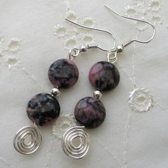 Earrings - Rhodonite Gemstones Drop Earrings