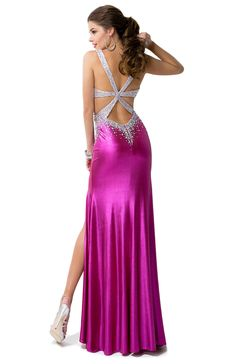 Metallic Jersey Dress with Side Cut-outs & Open Back | by FLIRT #pink #prom #cutouts #silver