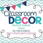 Classroom Decoration Set Chevron, Navy, pink, and light blue Nautical Themed This 133 page décor set includes: Table Signs by Color and Number (hal...