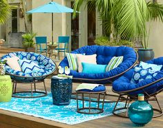 Papasans by the pool: The outdoor version of our popular Papasan holds up in all kinds of weather.