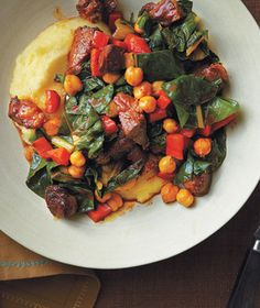 Lamb and Chickpea Ragu With Polenta Recipe from realsimple.com. #myplate #protein #veggies #vegetables