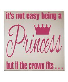 This Vinyl Crafts Cream & Pink 'Princess' Wall Art by Vinyl Crafts is perfect! #zulilyfinds