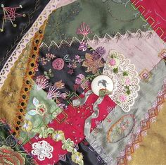 I ❤ crazy quilting & ribbon embroidery . . . Midnite garden 2 ~By Stitch Empress
