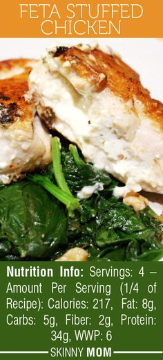 If you like feta cheese, you will LOVE this Skinny Mom Feta Stuffed Chicken Recipe! AMAZING flavor and only 217 calories per serving!