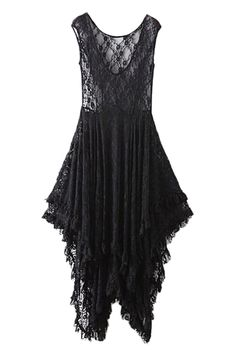 ROMWE | ROMWE V-neck Lace Transparent Pleated Asymmetric Black Dress, The Latest Street Fashion