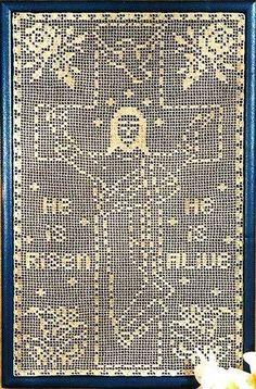 Filet Crochet PATTERN ONLY He Is Risen Easter Cross Wall Hanging Jesus