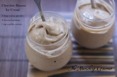 Ice cream made out of bananas, cocoa powder, and vanilla. Super easy and yummy! ice cream maker, clean eating, healthy ice cream, bananas, vanilla extract, no sugar, real foods, weather, banana ice cream
