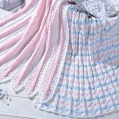 Mile-A-Minute & Peek-A-Boo Ripple Baby Afghan Crochet Patterns ePattern