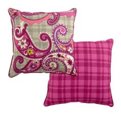 Reversible Toss Pillow in Paisley Meets Plaid