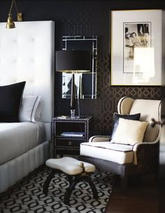 love the trellis wall.  but maybe just an accent wall for our bedroom.  I think they used flat dark gray paint first then used the glossy version of the same paint color for the stencil.