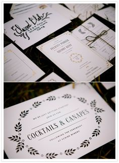 white, black and gold invitation suite by Mae Mae Paperie