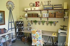 craft space, room organization, craft areas, offic, craftroom, shelv, mom cave, cottage style, craft rooms