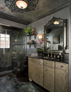 Stenciled Bathroom - Before and After - Dramatic, Romantic, Powerful, Elegant Dark Color Scheme - Stencil Patterns on Decorative Walls in Bathroom