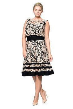 Embroidered Lace Blouson Waist Dress | Tadashi Shoji