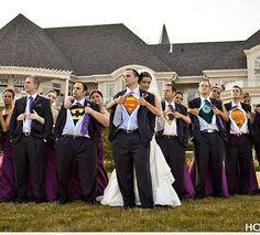 geek, wedding parties, hero, future husband, wedding photos