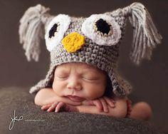 Owl two pin ear - free pattern  Isn't this ADORABLE?!?! animal hats, baby owls, newborn hats, hat patterns, babi, baby hats, crochet patterns, yarn, owl hat