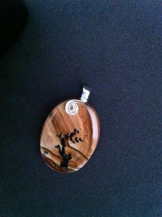 Natural Biggs Picture Jasper Cabochon Pendant with  by RainbowKnit, $98.00