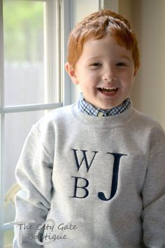 Boys Monogrammed Sweatshirt by TheCityGate on Etsy, $25.00