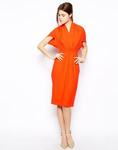Pencil Dress In Crepe With V Neck