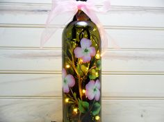 Lighted Wine Bottle Pink Dogwood Brown Hand Painted 750 ml