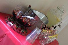 BBQ drink table... sangria punch, lemonade, and beer :)