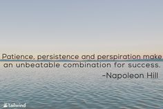 """""""Patience, persistence and perspiration make an unbeatable combination for success."""" -Napoleon Hill"""
