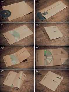 DIY cd sleeves for favors at wedding. Using colored scrapbook paper. Love this idea!