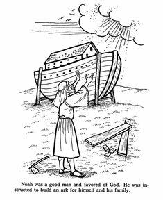 Noah and the Ark Bible Story Coloring Page from free Bible Printables