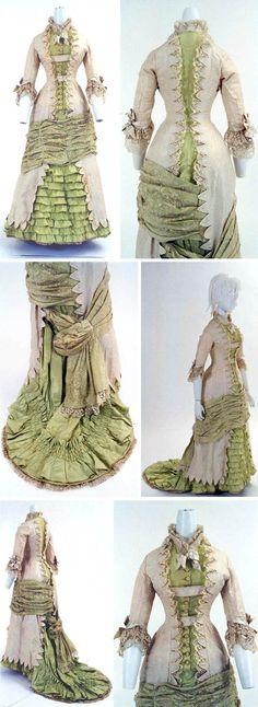 Dress, French, ca. 1880s. Princess-line, one piece. Bunka Costume MuseumDress, French, ca. 1880s. Princess-line, one piece. Bunka Costume Museum